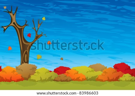 Beautiful autumn tree on wind
