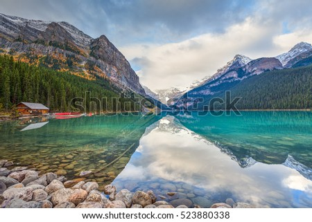 Beautiful autumn views of iconic Lake Louise in Banff National Park in the Rocky Mountains of Alberta Canada - Shutterstock ID 523880338