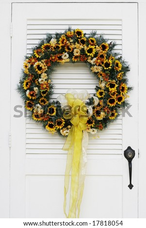 Beautiful autumn wreath on door