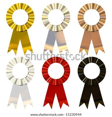 Beautiful award ribbons isolated on white - stock photo