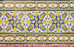 Beautiful azulejos, majolica tiles with geometric or figurative motifs