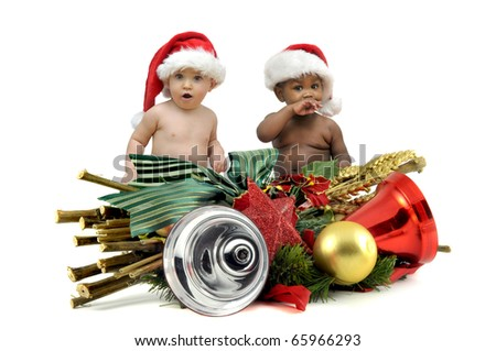 Beautiful babies with Christmas hat isolated in white