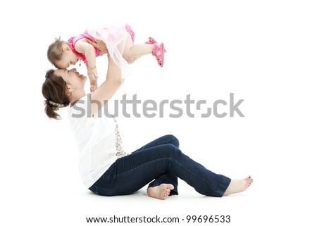 Beautiful baby and her mother