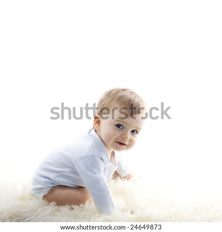 beautiful  baby boy on white background