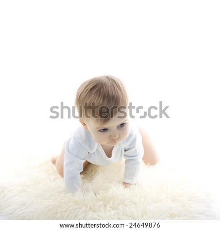 beautiful  baby boy on white background