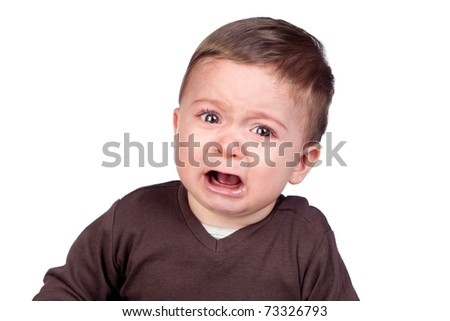 funny pictures of babies crying. aby crying isolated on