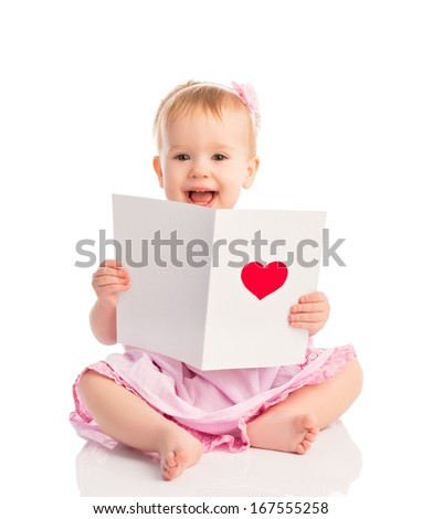 beautiful baby girl with cute valentine postcard with a red heart isolated on white background