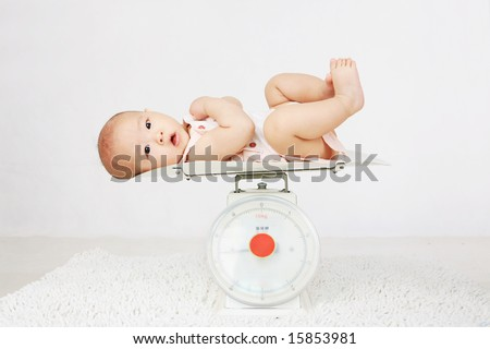 Beautiful baby on on weighing scale