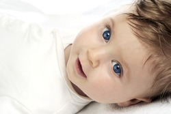 beautiful baby portrait on white