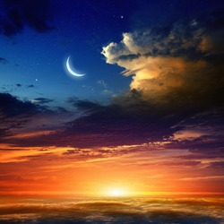 Beautiful background - new moon in dark blue sky with stars, glowing sunset clouds. Elements of this image furnished by NASA