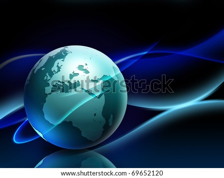 Beautiful background showing the Earth surrounded by some wavy lines. Digital illustration