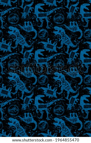 Beautiful background with dinosaurs, on a black background modern background for boys and girls, for prints, T-shirts, textiles, fabrics, canvases, children's clothing, tattoos, pattern