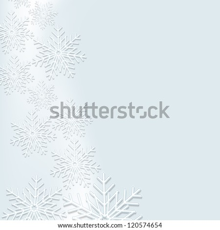 Beautiful background with snowflakes with effect 3d - stock photo