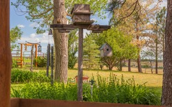 Beautiful backyard landscaping at a rural Colorado farmhouse home with bird houses, trees, lush plants and arbor gate in the distance