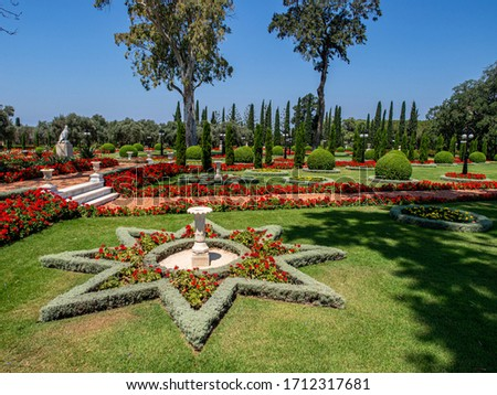 Beautiful Bahai Garden with blossoming flowers in Acre.