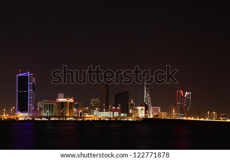 Beautiful Bahrain skyline illuminated on Bahrain national day