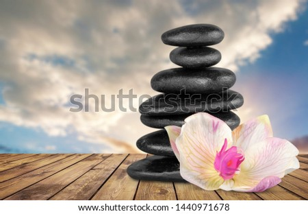Beautiful Balance concept, stack beach stone with a flower on the sky background #1440971678