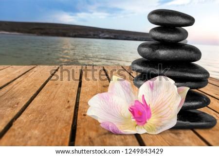 Beautiful Balance stone on sea #1249843429