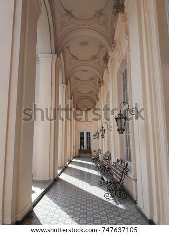 beautiful balcony with columns  ...