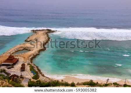 Beautiful Bali beach from the top view .  #593005382