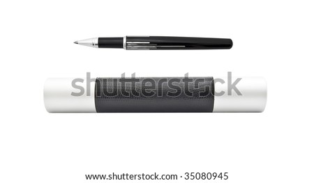 Beautiful ball pen and case for it - stock photo