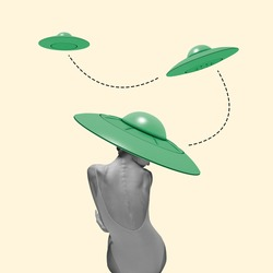 Beautiful ballerina in green stylish hat as an UFO on yellow background. Copy space for ad, text. Modern design. Conceptual, contemporary bright artcollage. Retro styled, surrealism, fashionable.