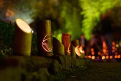 Beautiful bamboo lantern festival at night