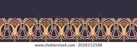 Beautiful Baroque Ornament style border design handmade artwork ornament pattern with watercolor, repeat floral texture, vintage background hand drawing. Perfectly for wrapping paper, wallpaper