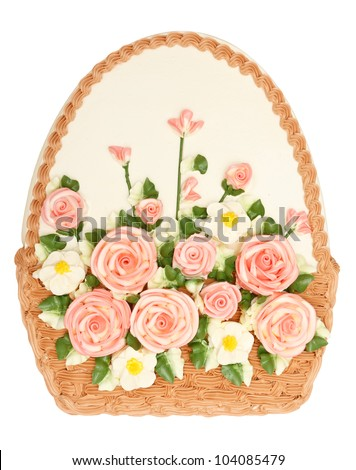Beautiful basket shape cake with flower cream on top