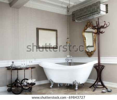 beautiful bath in a hotel room - stock photo