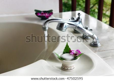 beautiful bathroom in outdoor, close-up