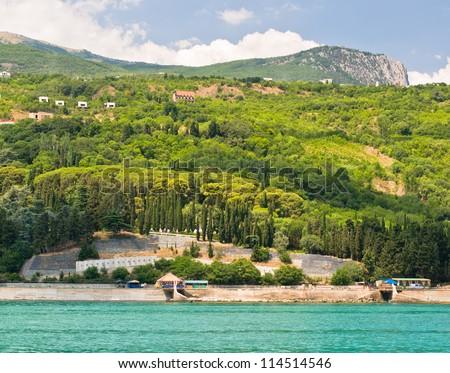 Beautiful bay in Crimea-Alushta. Black sea. Ukraine.