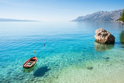 Beautiful bay near Brela town, Makarska riviera, Dalmatia, Croatia. Landscape, seascape, travel, vacations, nature concept