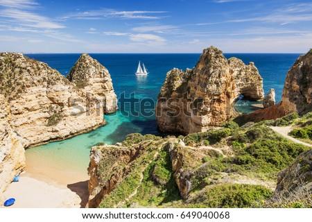 Beautiful bay near Lagos town, Algarve region, Portugal #649040068