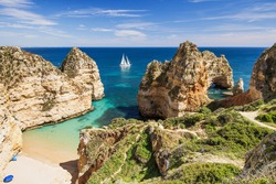 Beautiful bay near Lagos town, Algarve region, Portugal. Sandy beach. Popular travel destination