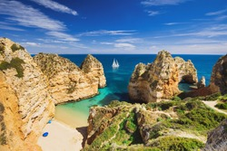 Beautiful bay near Lagos town, Algarve region, Portugal. Sandy beach. Portuguese landmark, popular travel destination