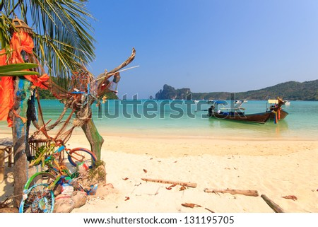 Beautiful bay of Koh Phi Phi island with long tailed boat Thailand