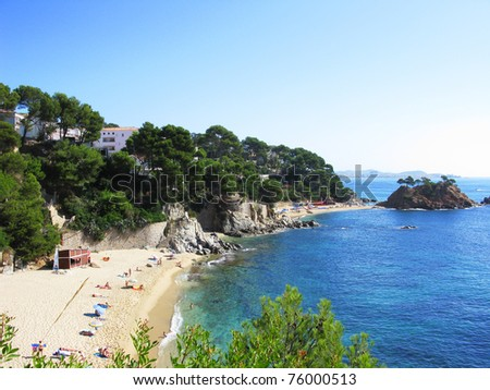 Beautiful beach and blue water at Costa Brava (Spain)