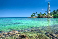 Beautiful beach and lighthouse in SriLanka