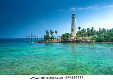 Beautiful beach and lighthouse in SriLanka Foto stock ©