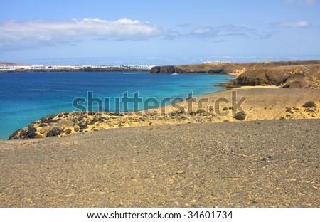 Beautiful beach and sea in Lanzarote Spain