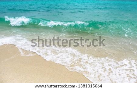 Beautiful beach and sea waves  #1381015064