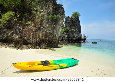 Beautiful beach and sea with longtail boat on Koh phiphi, Andaman Sea,Thailand