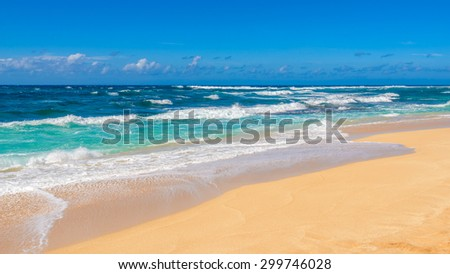Beautiful beach and tropical sea. Sand and water vacation background. #299746028
