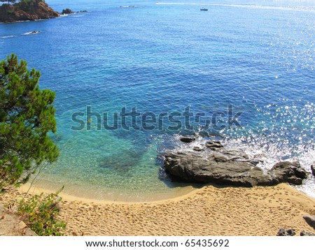 Beautiful beach at Costa Brava (Spain), blue and clean water