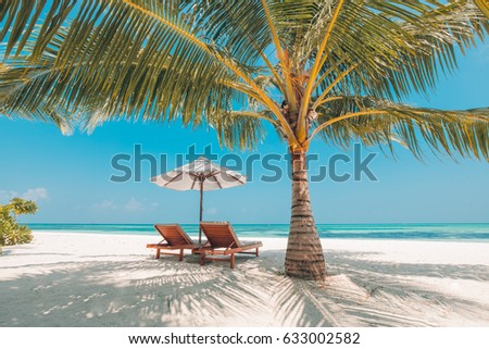 Beautiful beach. Chairs on the sandy beach near the sea. Summer holiday and vacation concept. Inspirational tropical beach. Tranquil scenery, relaxing beach, tropical landscape design. Moody landscape #633002582