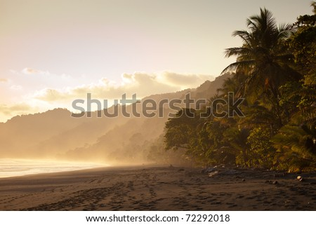 Beautiful beach in Costa Rican at sunset