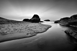 Beautiful beach in Penang, Malaysia called Meromictic Lake, Penang National Park. Black and white photography