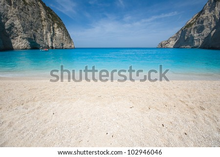 Beautiful beach in the smuggler's bay, Zakynthos