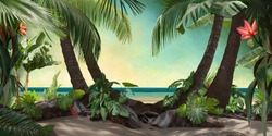 beautiful beach lagoon view with palm trees and tropical leaves, can be used as background